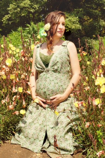 těhotenské letní šaty z tištěného lnu